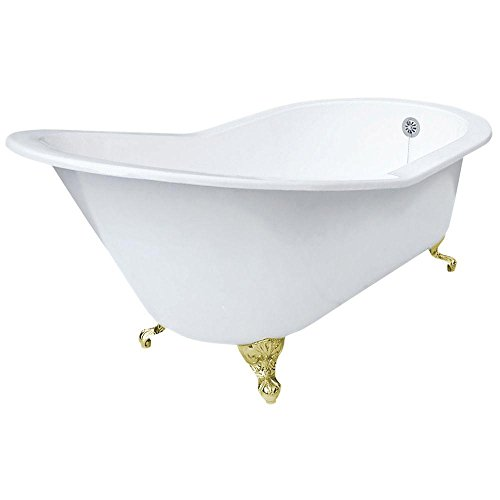 Big Sale Best Cheap Deals Elizabethan Classics ECGDSLPB0HOLE Cast Iron Grand Slipper Tub with Less Faucet Holes, Polished Brass Feet