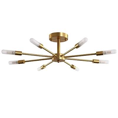 Semi Flush Ceiling Vintage Brushed Gold Light Fixture, Palacelantern Electroplated Brass 8 Lights Industrial Sputnik Chandelier for Kitchen Dining Living Room Bedroom Lighting