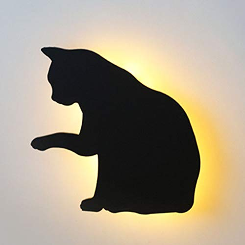 Lámpara de Pared de Gato de Proyección Control de Voz Decoración de Pared de Gato Lamiendo 3D para El Hogar Sala de Estar Pasillo Cocina Dormitorio