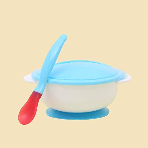 LeftSuper Baby Squeezing Fütterungsschüssel (mit Löffel) Baby Geschirr Saugnapf Neugeborene Babynahrung Babynahrungsschalen mit Löffel