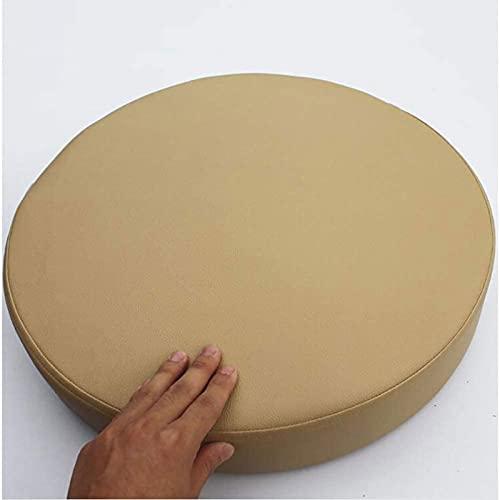 Almohadillas De Silla, Cojín De Asiento De Piel Sintética Gruesa, Silla De Color Sólido Redondo Cojín De Memoria De Memoria De Espuma Tapa Extraíble No Slip (Size:45x45x5cm(18x18x2inch),Color:Caqui)