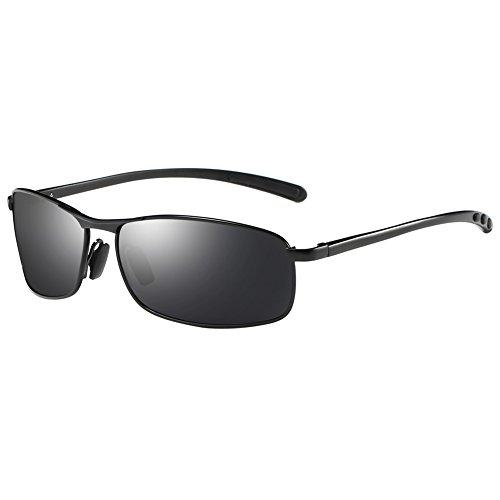 ZHILE Rectangular Polarized Sunglasses Anti Reflective Coating Spring Hinge UV400 (Black, Grey with AR COATING)