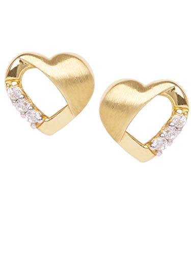 Herz Ohrstecker Stecker Ohrringe Gelbgold 333 Gold (8 Karat) Mit Zirkonia 6mm x 7mm Herzchen Herzform Goldohrringe Herzohrringe Mädchenohrringe Sweet Valentine V0010829