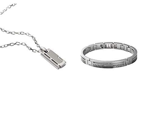 Fossil Collar para Hombre JF84466040 + Pulsera para Hombre JF84476040
