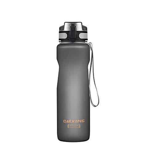 cmxing Trinkflasche Tritan Wasserflasche Auslaufsicher BPA-frei Sportflasche 500ml/1000ml kohlensäure geeignet für Kinder Schule Fahrrad Gym Yoga Camping (Gray, 500 mL)