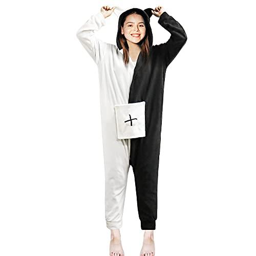 TIMSOPHIA Monokuma Schlafanzug Bär Kostüm Onesie Anime Nachtwäsche Bear Cosplay Pyjama Jumpsuit Strampler Gr. Large, weiß/schwarz