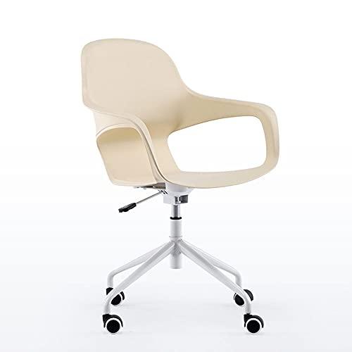 Bodycarewl Silla de Oficina ergonómica, Silla de Escritorio pequeña, Abrazos, sillón de tareas de computadora Giratorio Ajustable, Silla de Oficina para pequeños Espacios pequeños,Beige