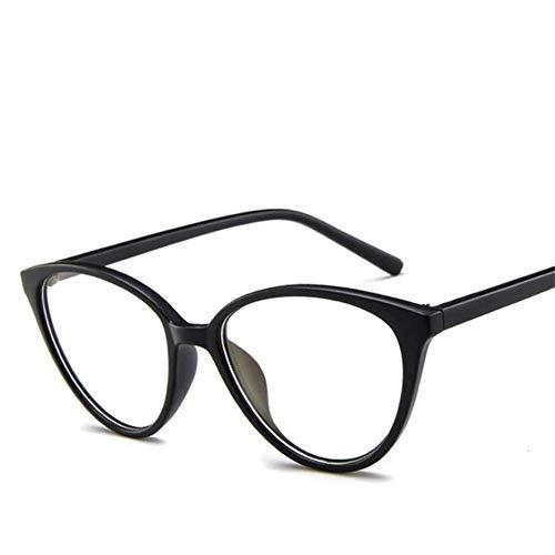 Gafas de sol de Moda 2019 ojo de gato vidrios enmarcan la lente clara Eyewear mujeres marcos ópticos miopía empollón negro gafas de color rojo marco de montura de gafas ( Lenses Color : Matte Black )