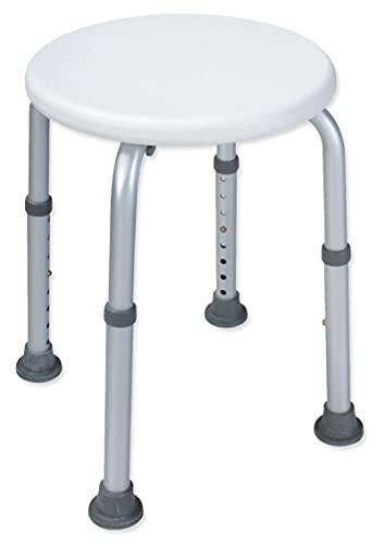 Rollafit Duschhocker rund höhenverstellbar - geprüft nach DIN EN 12520:2016-03 - belastbar bis 130 kg