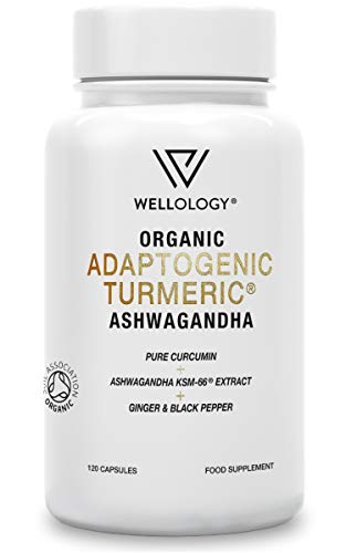 Turmeric Ashwagandha Capsules | 1865mg Organic Turmeric Ashwagandha KSM 66 with Ginger Root & Black Pepper Powder | Ayurveda 100% Natural Herbal Ashwaganda Supplement | 120 High Strength Vegan Tablets