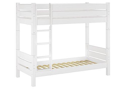 Erst-Holz® Etagenbett für Erwachsene 80x200 weiß, Nische 100 teilbar, mit 2 Rollroste 60.16-08 W T100