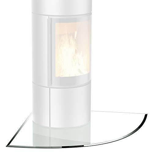 Glasplatte für Kaminofen Viertelkreis mit Dichtlippe Glasbodenplatte - Funkenschutzplatte Glas | Kamin Hitzeschutz | 110 x 110 cm - 8mm ESG Kamin Bodenplatte