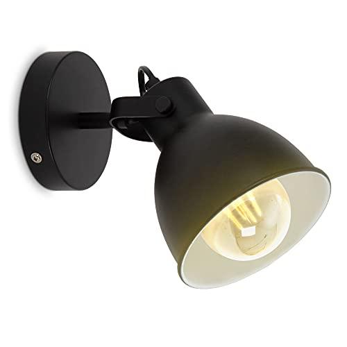 B.K.Licht lampada da parete retrò, orientabile, attacco per lampadina E27 non inclusa, applique vintage industriale, faretto da muro nero-bianco