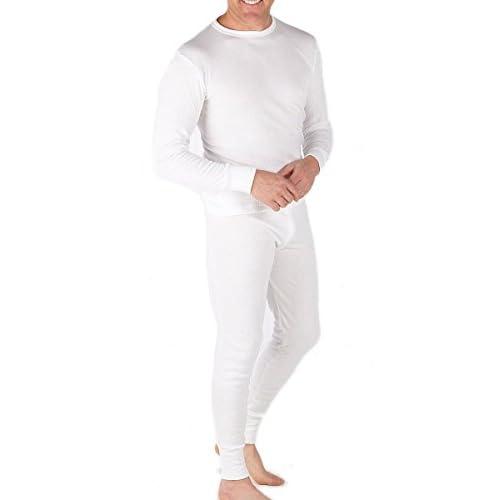 31wSP37vxpL. SS500  - Mens Thermal Set Long Sleeve Vest and Long Johns White
