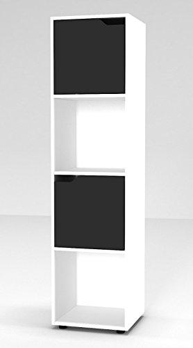 URBNLIVING Bücherregal aus Holz mit Türen, holz, Weißes Bücherregal mit schwarzer Tür, 4 Cube