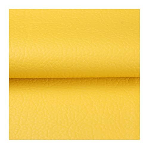 ZHJBD Tessuto in Ecopelle Pelle Sintetica in Poliuretano 0,7 mm di Spessore Impermeabile Resistenza allo Strappo Perfetto per Vestire, Cucire, Creare Progetti Fai da Te - Giallo(Size:4 x 1.38m)