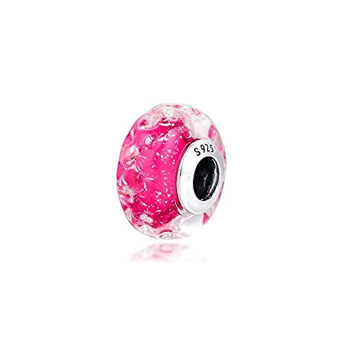 WUXEGHK Abalorio De Cristal De Murano Rosa Elegante Ondulado Plata De Ley...