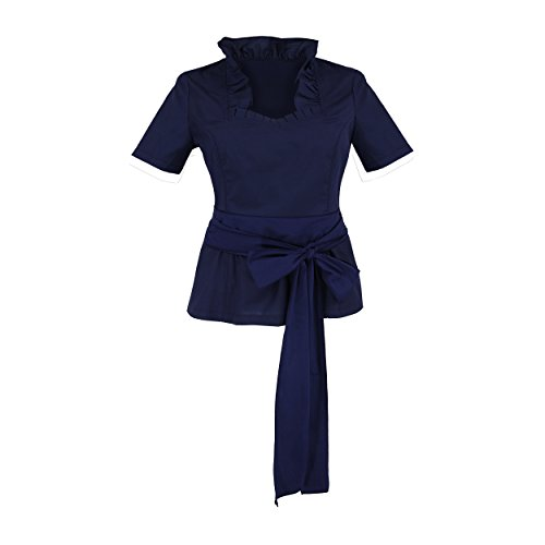 By Johanna Trachtenbluse Damen Trachtenmieder Blau Tailliert Bluse zur Trachten-Jeans Lederhose Kurz arm 42