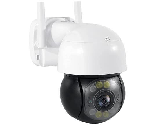 Outdoor WiFi IP Surveillance Camera Dome 1080P HD PTZ CCTV Security Camera,Color night vision,2-way voice,AI human tracking,App alarm notification,TF/Cloud storage,IP66 Waterproof (Camera+32G TF)