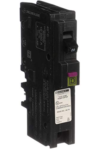 Square D by Schneider Electric HOM120PDFC Homeline Plug-On Neutral 20 Amp Single-Pole Dual Function (CAFCI and GFCI) Circuit Breaker, ,