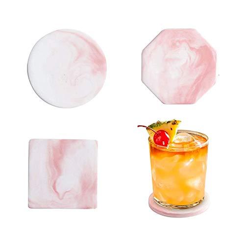 Set di 6 Sottobicchieri per Bevande in Ceramica, Sottobicchieri in Marmo per Tazze, Vasi, Candele - Regalo Grazioso per Amici e Parenti