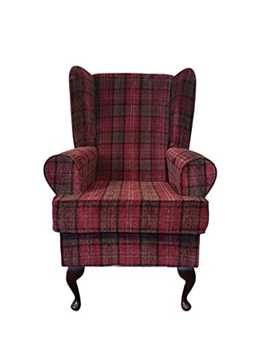 Orthopädischer Sessel mit hoher Rückenlehne, hoher Sitz, 53,3 cm, luxuriöser Tartan-Stoff