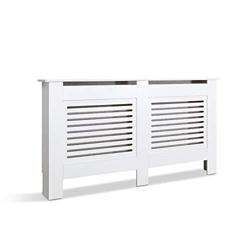 Mondeer Heizkörperverkleidung, Heizungsverkleidung MDF Unlackiert Modern für Schlafzimmer Wohnzimmer Parallel Weiß (L)