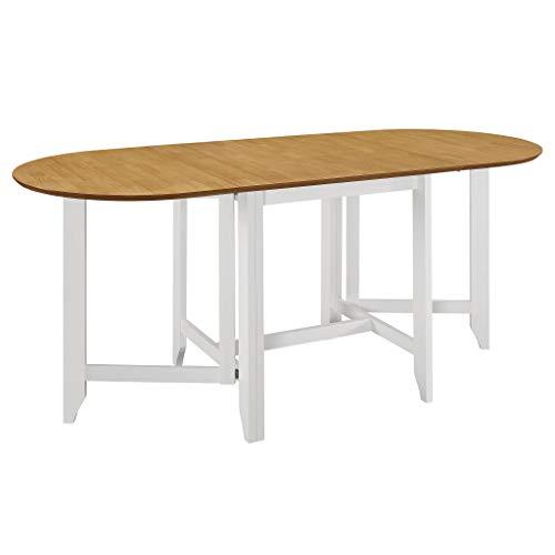 vidaXL Mesa de Comedor Extensible MDF Mobiliario Hogar Practica Funcional Muebles Interiores Diseno Clasico Elegante Duradera Blanca (75-180) x75x74cm