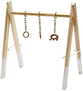 Nordic Baby Room Decor - Wooden Activity Gym for Babies' Play Time - Modern Infant Toys for Brain Development and Sensory Stimulation - Wood Frame and Hanging Objects - Gifts for Boys and Girls