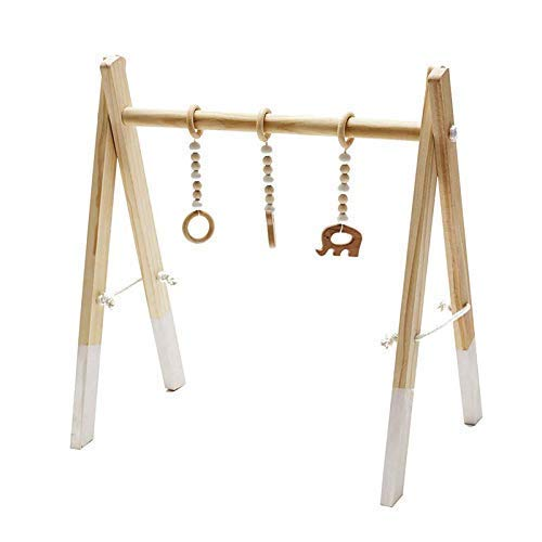 Wooden Activity Play Center for Infants Hanging Toys and Frame Made from Real Wood Exclusive Newborn Room Decor Baby Shower Gift for Boys and Girls