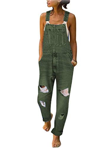 Tomwell Damen Latzhose Jeanslatzhose Frauen Latzhose Jeans Hose Vintage Loose fit Jumpsuit Overall Blumen Denim Playsuit Romper A Armeegrün L