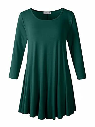 LARACE Women 3/4 Sleeve Tunic Top Loose Fit Flare T-Shirt(M, Dark Green)