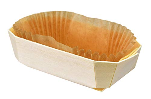 (12 Count) Panibois Tom Pouce - 3.5 Ounce Wooden Baking Mold with Paper Liner