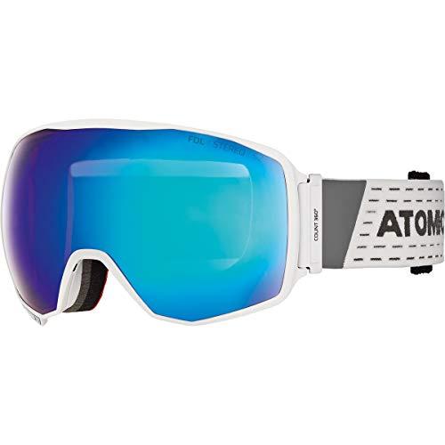 Atomic Unisex All Mountain-Skibrille Count 360° Stereo, für durchschnittliche Lichtverhältnisse, Large Fit, Sphärische FDL-Doppelscheibe, weiß/blau, AN5105628