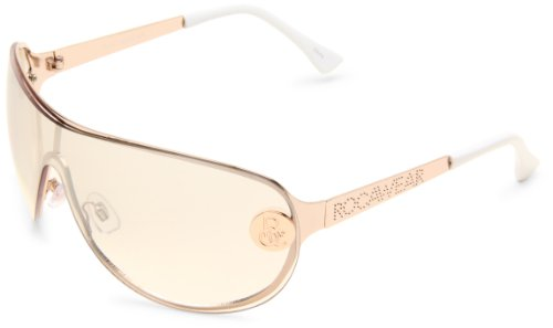 Rocawear R420 Shield Sunglasses with Textured Logo Temple & 100% UV Protection, Rose Gold, 65 mm