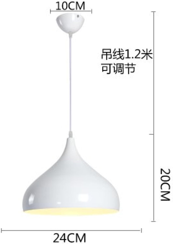Luckyfree Moderne, einfache Single Head Pendelleuchte Zimmer Bar Cafe Restaurant Küche Flur Lampen Deckenleuchte Kronleuchter, weiss Durchmesser 24 cm + 7 W weies Glühbirne