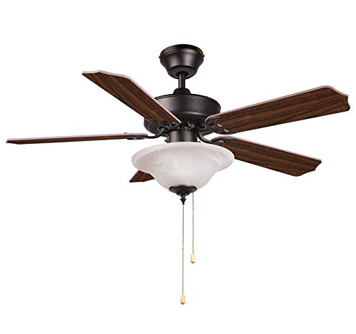 Hyperikon 42 Inch Ceiling Fan, 55W, Remote Control and Pull Chain, Black Fixture, 5 Blades, Frosted Dome Light, Walnut