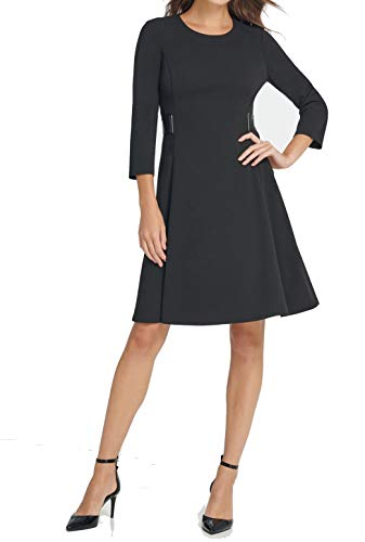DKNY Womens Black Long Sleeve Jewel Neck Above The Knee Fit + Flare Wear to Work Dress Size 14