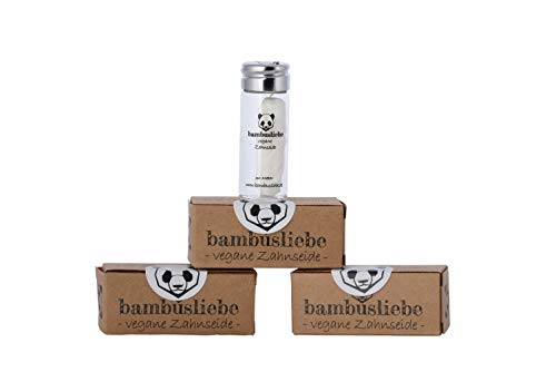 bambusliebe 3x 30 Meter Vegane Zahnseide mit Maisseide - Mit Candelilla-Wachs & Edelminze - Inkl. wiederverwendbarem Glas - Reinigt sanft & schonend, auch für empfindliches Zahnfleisch - Zero Waste