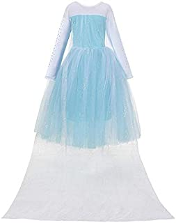 Girls Elsa Costume Snow Queen Princess Dress up with Long Train Halloween Christmas Party Sequined Cosplay Fantasy