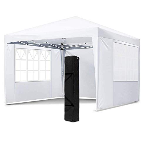 GH-YS 10x10 FT Pop Up Canopy Tent, Portable Commercial Instant Shelter, Adjustable Height Outdoor Event Gazebos with 4 Removable Sidewalls and Carry Bag,White