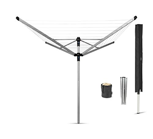 Brabantia Lift-o-Matic Advance Wäschespinne, mit Kunststoff-Bodenanker zum Einbetonieren, Schutzhülle und Klammerbeutel, 50 m Soil Spear