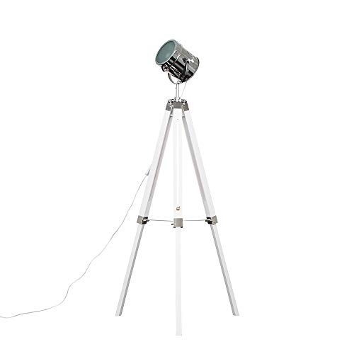 Modern White & Chrome Industrial Photography/Film Studio Style Adjustable Spotlight Tripod Floor Lamp - Complete with a 6w LED GLS Bulb [3000K Warm White]