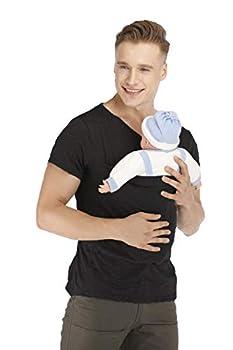 Men s Kangaroo Care Dad T-Shirt Soothing Short Sleeve Shirts Baby Wrap Carrier Skin-to-Skin Pocket Daddy Tank Top  Black X-Large