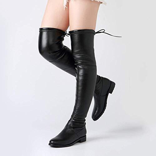 Laarzen Vrouwelijke Europese en Amerikaanse stijl Zwart, Vrouw over de knie, Achterkant met ronde kop Lage hak