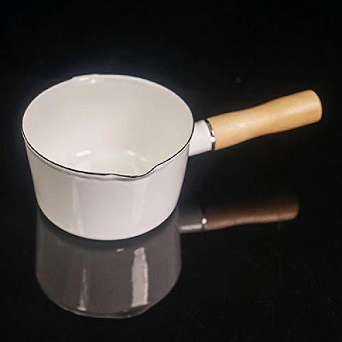 HUSHUN Cazos Para Leche Mini Calentador de Leche Portátil Sartén Antiadherente Cacerola Cocina aptas para todo tipo de cocinas Fácil de limpiar-Blanco