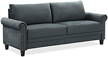 Fallon 3-Seat Chair Microfiber Rolled Arms With Nail head Trim