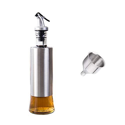 HI-QUAL Bouteille D'huile d'olive,Distributeur Huile vinaigre en Acier Inoxydable,Kitchen Craft Bouteille pour Huile et vinaigre,1 en Acier Inoxydable Entonnoir pour Remplissage