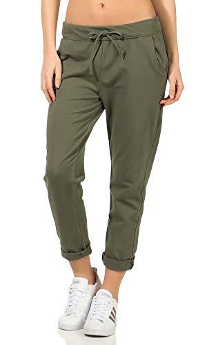 Damen Jogginhose im Boyfriend-Style Sweatpants für Freizeit Sport und Fitness 15 (One Size 36-40, Oliv)