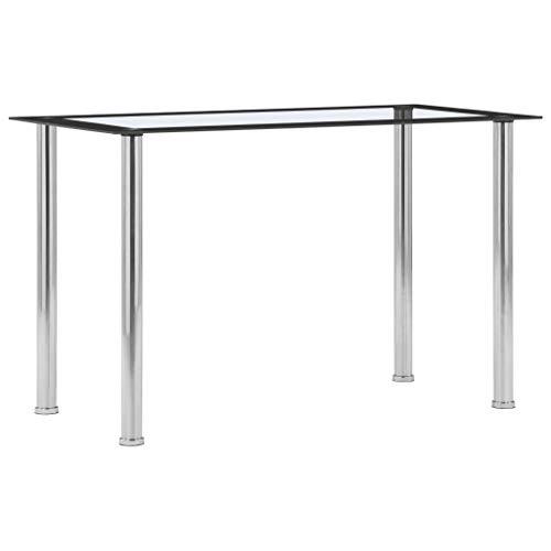 vidaXL Esstisch Küchentisch Esszimmertisch Glastisch Speisetisch Tisch Esszimmer Küche Schwarz Transparent 120x60x75cm Hartglas Edelstahlrahmen